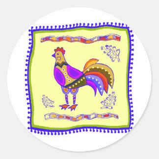 鶏のキルト ラウンドシール