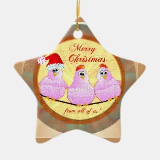 鶏のクリスマスの星のオーナメント セラミックオーナメント