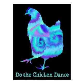 鶏のダンスのカラフルで予測できない芸術のデザインをして下さい ポストカード