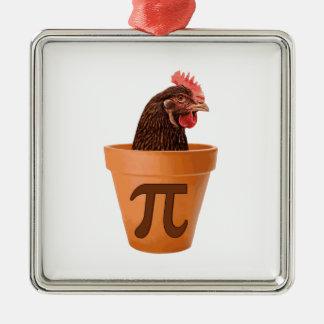 鶏のポットPi (および私心配は) シルバーカラー正方形オーナメント