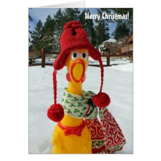 鶏のメリークリスマスの挨拶状! カード