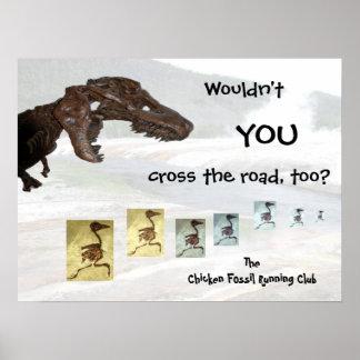 鶏の化石の連続したクラブ感動的なデザイン ポスター