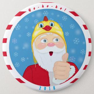 鶏の帽子のサンタクロース、親指、クリスマス 15.2CM 丸型バッジ