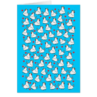 鶏の束のハートパターン-挨拶状 カード