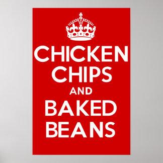 鶏の破片および焼いたな豆 ポスター