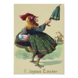 鶏の雌鶏のイースターのウサギの着色された卵のバスケット カード