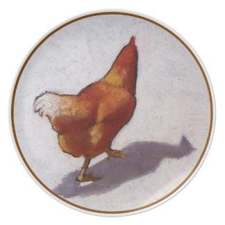 鶏をもったいぶって歩くことのパステル調の絵画 プレート