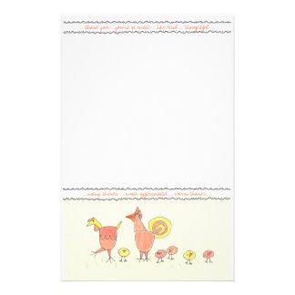 鶏家族はノート紙感謝していしています 便箋