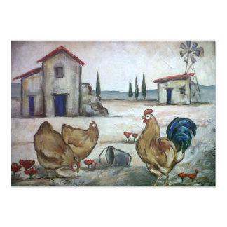 鶏農場場面 カード