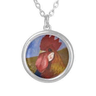 鶏/オンドリの絵画 シルバープレートネックレス