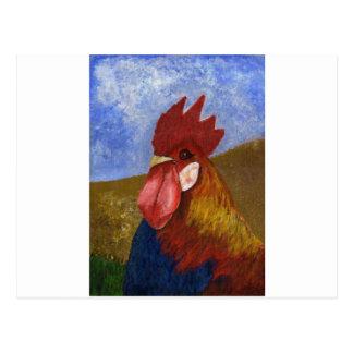 鶏/オンドリの絵画 ポストカード