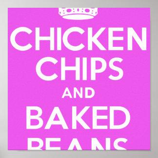 鶏、破片および焼いたな豆(ピンク) ポスター