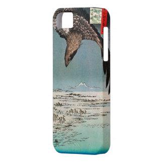 鷲と雪景色、広重のワシおよび雪場面、広島の浮世絵 iPhone SE/5/5s ケース