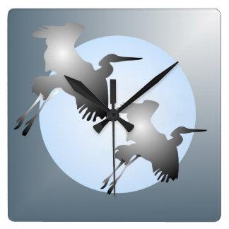 鷲の飛行中に正方形の柱時計 スクエア壁時計
