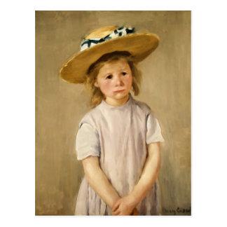 麦わら帽子のCassattの子供-甘いスマイルの… ポストカード