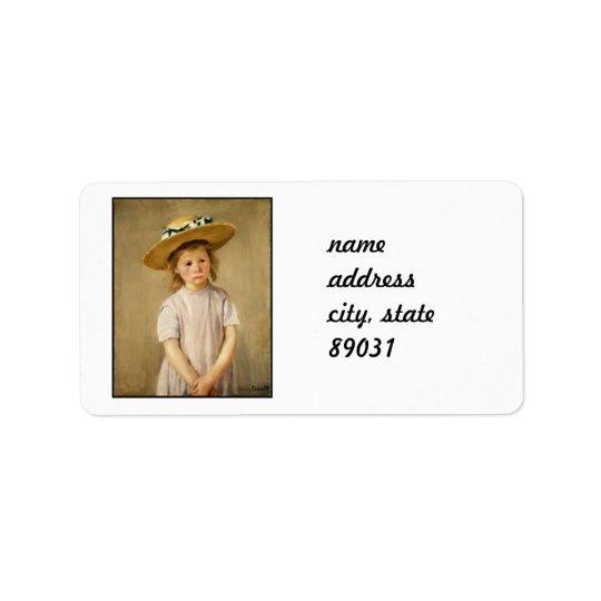 麦わら帽子のCassattの子供-甘いスマイルの… ラベル