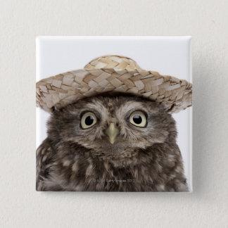 麦わら帽子- Atheneのnoctua --を身に着けているコキンメフクロウ 5.1cm 正方形バッジ