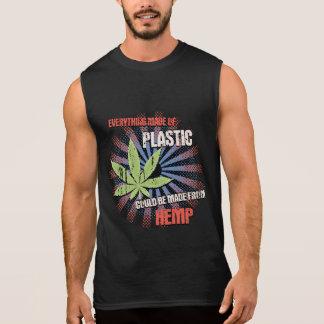 麻のプラスチック 袖なしシャツ