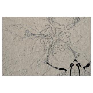 麻布のエクアドルの花およびガの線画 ファブリック