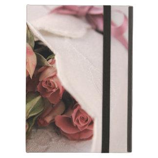麻布のiPadのPowisのkickstandの場合を持つピンクのバラ iPad Airケース