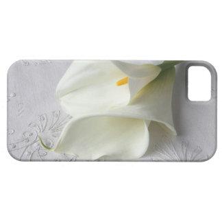 麻布iphone4 IDの場合の白いオランダカイウユリ iPhone SE/5/5s ケース