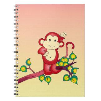 黄橙色および赤い猿動物のノート ノートブック