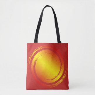 黄橙色および赤く激しい太陽のビーチの食料雑貨 トートバッグ