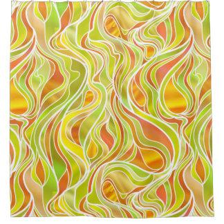 黄橙色のステンドグラスの抽象芸術 シャワーカーテン