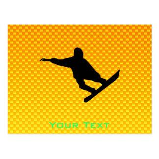 黄橙色のスノーボード ポストカード