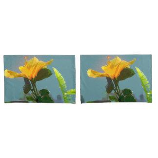 黄橙色のハイビスカスの花 枕カバー