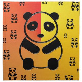 黄橙色の背景のパンダ ナプキンクロス