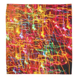 黄橙色の赤い青緑のピンクの抽象芸術ライト バンダナ