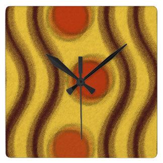 黄橙色及びブラウンの抽象芸術 スクエア壁時計