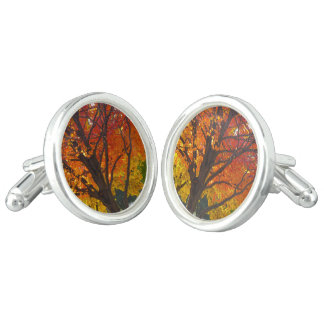 黄色いおよびオレンジの紅葉 カフブローチ