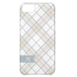 黄色いおよび銀製灰色の格子縞のモノグラムのiPhone iPhone5Cケース