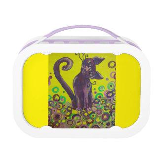 黄色いお弁当箱の紫色猫 ランチボックス