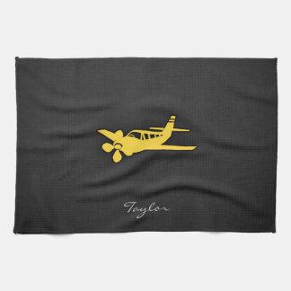 黄色いこはく色の飛行機 キッチンタオル