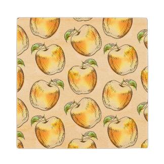 黄色いりんごが付いているパターン ウッドコースター