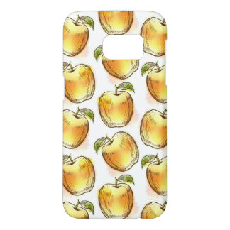 黄色いりんごが付いているパターン SAMSUNG GALAXY S7 ケース