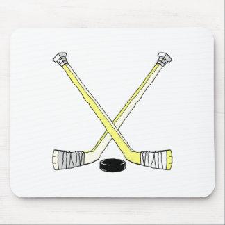 黄色いアイスホッケー用スティック マウスパッド