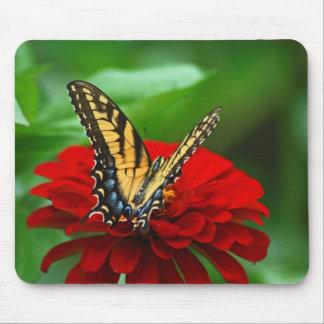 黄色いアゲハチョウの蝶および《植物》百日草のマウスパッド マウスパッド