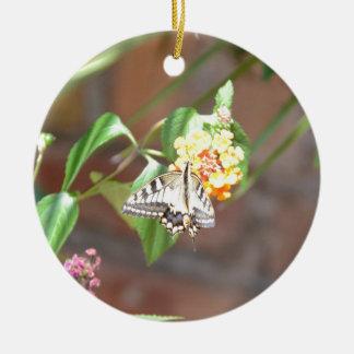 黄色いアゲハチョウの蝶 セラミックオーナメント