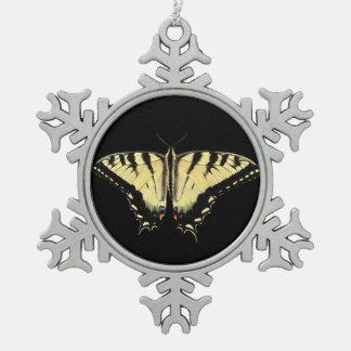 黄色いアゲハチョウの~のピューターのオーナメント スノーフレークピューターオーナメント