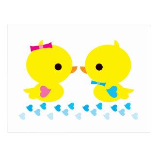 黄色いアヒルちゃんのかわいいの漫画 ポストカード