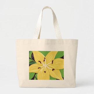 黄色いイースター・リリーのデジタル絵画のバッグ ラージトートバッグ
