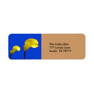 黄色いオランダカイウユリの差出人住所ラベル ラベル