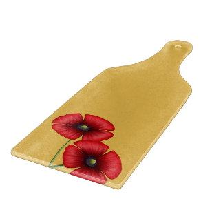 黄色いガラス切り刻むかいの赤いケシの組 カッティングボード