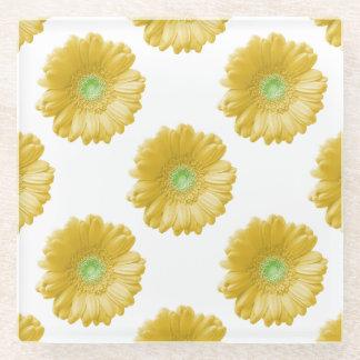 黄色いガーベラのデイジー ガラスコースター