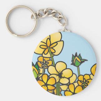 黄色いキンボウゲの花の分野 キーホルダー