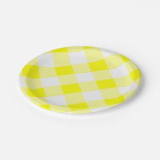 黄色いギンガムのレトロ ペーパープレート